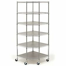BRAND NEW Heavy Duty Wire Steel 6-Tier Corner Shelf Garage Storage Shelving Rack