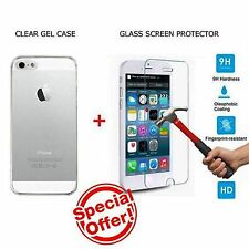 New Apple iPhone 5 5s Case Cover Clear with Genuine Tempered Glass Protector