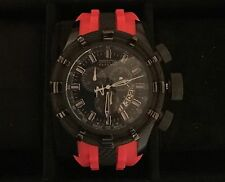Invicta Reserve Bolt Mens 50mm Black Quartz Watch And Red Strap Limited Edition