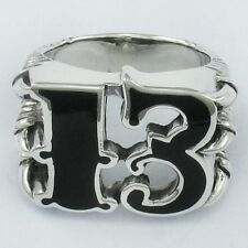 925 STERLING SILVER ENAMEL LUCKY 13BIKER CLAW DRAGON FANG WITCHCRAFT OCCULT RING
