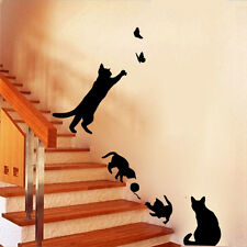 DIY Cat Play Living Room Decor Removable Decal Vinyl Mural Art PVC Wall Sticker