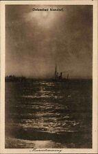 Niendorf Timmendorfer Strand Ostsee AK ~1910 Dämmerung Meer Schiff Boot Dampfer