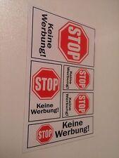 Briefkasten Aufkleber Stop Keine Werbung 1 Blatt 5 Etiketten