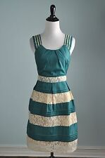 RYU Anthropologie $138 Tiered Lace Lined Pleated Tank Dress Size Medium