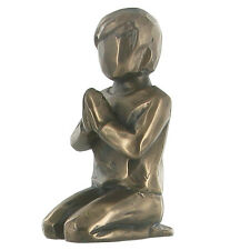 FABULOUS SMALL COLD CAST BRONZE PRAYING BOY SCULPTURE STATUE FIGURE NEW & BOXED