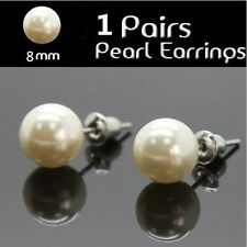 FREESHIPPING 1 Pairs Stainless Surgical Steel Hypoallergenic White Pearl Earring