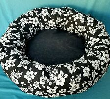 """Starbarks Pet Beds M 24"""" Black Hibiscus Washable Ortho Donut Dog Bed 40 lbs USA"""