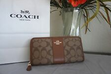 NWT Coach Signature Accordion Zip Around Wallet Khaki/Saddle F54630