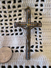 Vintage Old Roma Italy Micro Mosaic Crucifix Cross Set in Brass Beautiful OOAK