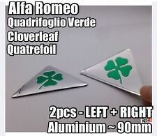 2x Alfa Romeo Green Cloverleaf QV Side Badges METAL 145-159 MiTo GIULIETTA 90mm
