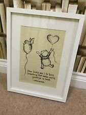 Vintage WINNIE POOH AA MILNE QUOTE Art picture GOODBYE PIGLET UNFRAMED