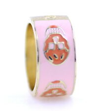 Goth punk style gold tone enamel skull band ring, multiple choices
