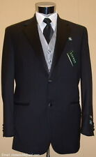 NEW RALPH LAUREN Wool Notch Black Tuxedo FREE Vest & Bow 41 Regular 41R Tux suit