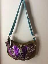 NWT - Hobo - Sweet And Vicious Brown Purse White Skull Faux Teal Strap