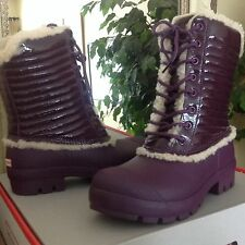 HUNTER Womens Plum Leather/Genuine Shearling Snow/Rain Boots 9M  MSRP $280
