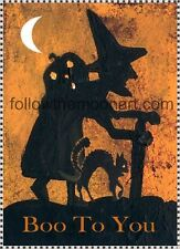 Old Witch Spooky Black Cat Boo to You Halloween Pumpkin Half Moon  Art Print