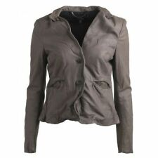 Muubaa Japonica Leather Blazer in Gun Grey. RRP £349. UK 10. M0172.