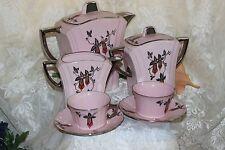 Czech Republic Tea For TWO 9pc Coffee/Tea Set Pink 50' era Silver Trim
