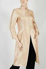 RALPH LAUREN Black Label – Gold Mandarin Shantung Silk Evening Coat – Size 8