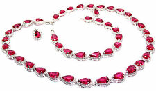 10kt White Gold Filled Ruby Pear Cut 64.86ct Full Round Necklace Set