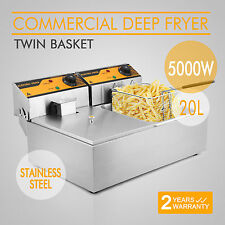 New 5000W  Stainless Steel Commercial 20L Twin Electric Deep Fat Fryer Chip