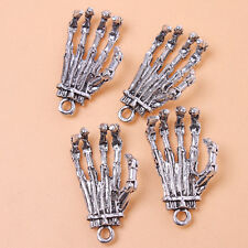 10pcs ON SALE intage Silver Zinc Alloy Skull Hand Pendants Jewelry Charms J
