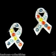 w Swarovski Crystal Autism Asperger Cancer Puzzle Awareness Ribbon post Earrings