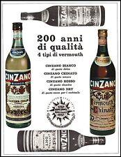 VERMOUTH CINZANO BIANCO ROSSO DRY CHINATO QUALITA' 200 ANNI BOTTIGLIE 1957