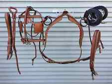 NEW TAN ALL LEATHER PONY DRIVING HARNESS SET SOLID CROME FITTING