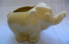 Elephant w/Tusks Trunk & Tail Up Standing Vintage Planter Pottery Pale Yellow