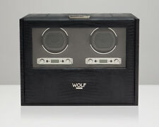 WOLF Blake 2.7 Double Automatic Watch Winder Battery Operated Black Leather NEW