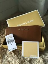 real  Women's Michael Kors jet set Saffiano Leather wallet  brown