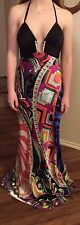 CACHE Long SILK Black with bright multi colors PROM DRESS Size 2