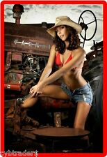 Sexy Model Working On Tractor Refrigerator/Toolbox  Magnet
