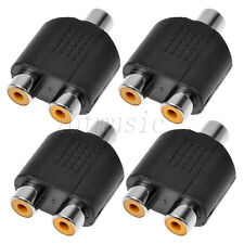 4 Pack 1 Female To 2 Female RCA AV Y Splitter Adapter Connector for Audio Cable