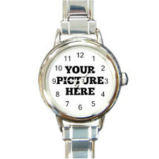 Custom Made Personalized Round Italian Charm Watch Your Photo Text Design Image