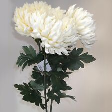 Set of  3 Artificial 89cm Large Chrysanthemum Flower Stems - Cream - Top Quality