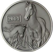 Pferd 2014 Horse Tokelau Lunar Serie 5$ Antik Finish 1 Oz Silber + COA 2.000Ex!