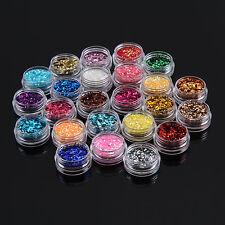 24 Colours Sparkle Glitter Dust Powder Hexagon Nail Art Decoration 1MM