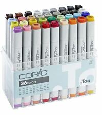 COPIC MARKER PENS - 36 BASIC COLOUR SET - GRAPHIC ART MARKERS