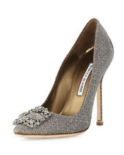 Manolo Blahnik Hangisi Crystal-Buckle Shimmery 100mm Pump, Gold Sz 37  $985.00