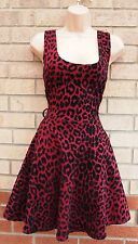 PEPPER TREE BURGUNDY BLACK VELVET LEOPARD PRINT SKATER PROM PARTY DRESS 8 S