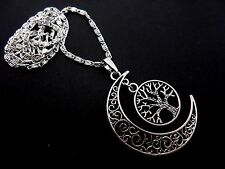 "A LOVELY  MOON/TREE OF LIFE SILVER COLOUR NECKLACE. 18"" CHAIN.  NEW."