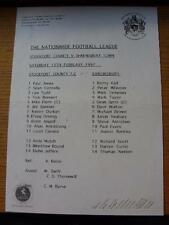 15/02/1997 Teamsheet: Stockport County v Shrewsbury Town  (Creased, Folded, Scor