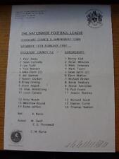 15/02/1997 Teamsheet: Stockport County v Shrewsbury Town  (Creased, Folded, Scor