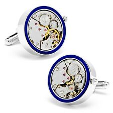 Round 22mm Matte Inlaid Watch Movement Cufflinks