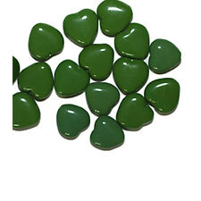 Green Flat Heart Czech Pressed Glass Beads 10mm (pack of 16)