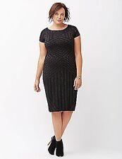 Lane Bryant Women's Black & Silver Sweater Dress Size 26/28
