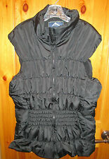 NEW WOMENS PLUS 2X BLACK QUILTED PUFFER VEST Fleece Lined zip puff vest