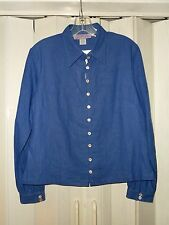 NEW OF THE EARTH BLUE LONG SLEEVE BUTTON DOWN HEMP BUTTON DOWN SHIRT SZ S NICE!